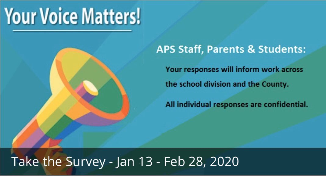 """Please check your email for a link to the <a target='_blank' href='http://twitter.com/APSVirginia'>@APSVirginia</a> and <a target='_blank' href='http://twitter.com/APCYF'>@APCYF</a> """"Your Voice Matters"""" survey. More information here: <a target='_blank' href='https://t.co/bbnWVQHWqD'>https://t.co/bbnWVQHWqD</a> <a target='_blank' href='https://t.co/LbubyAJmBZ'>https://t.co/LbubyAJmBZ</a>"""