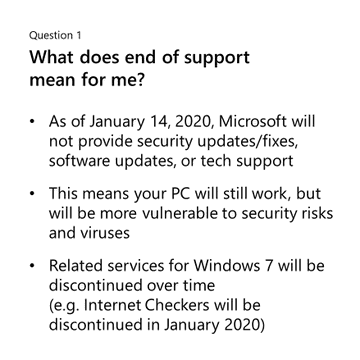Question 1: What does end of support mean for me? As of January 14, 2020, Microsoft will not provide security updates/fixes, software updates, or tech support. This means your PC will still work, but will be more vulnerable to security risks and viruses. Related services for Windows 7 will be discontinued over time.(e.g. Internet Checkers will be discontinued in January 2020)