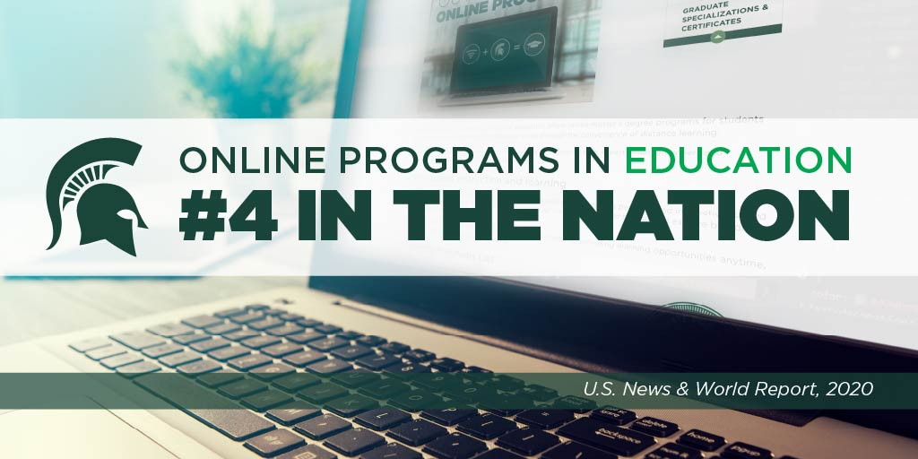 Michigan State University is ranked #4 in the nation for best online master's programs in education. The ranking is the highest recorded for MSU in the annual rankings from @usnews. <br>http://pic.twitter.com/BBoNwFEpEn