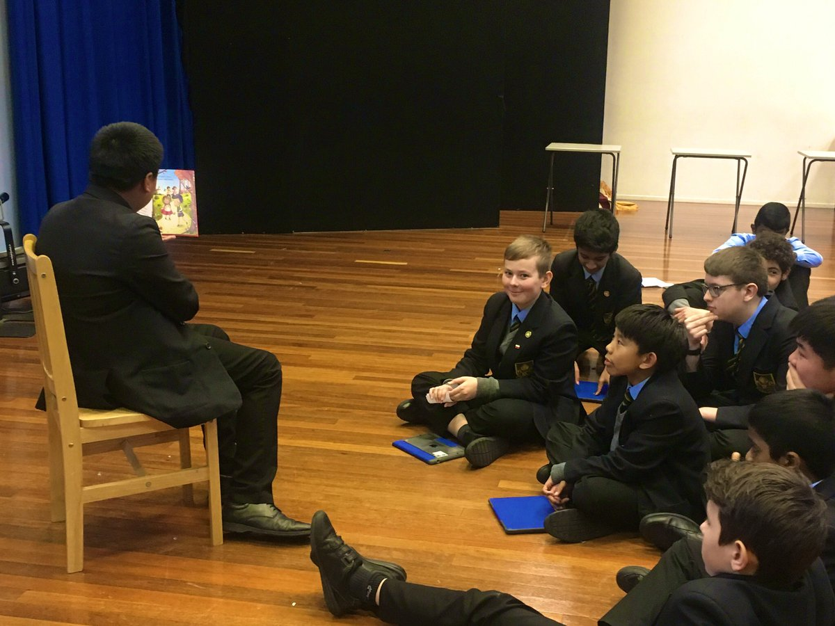 As part of our big idea on 'Story Telling and Narrative' in Year 8, we've been working on adapting our vocal and physical characterisation to suit different audiences when telling stories. Josh did a great job reading us 'Hansel and Gretel'  #DramaTwitter #storytelling<br>http://pic.twitter.com/0vvTthuwn5