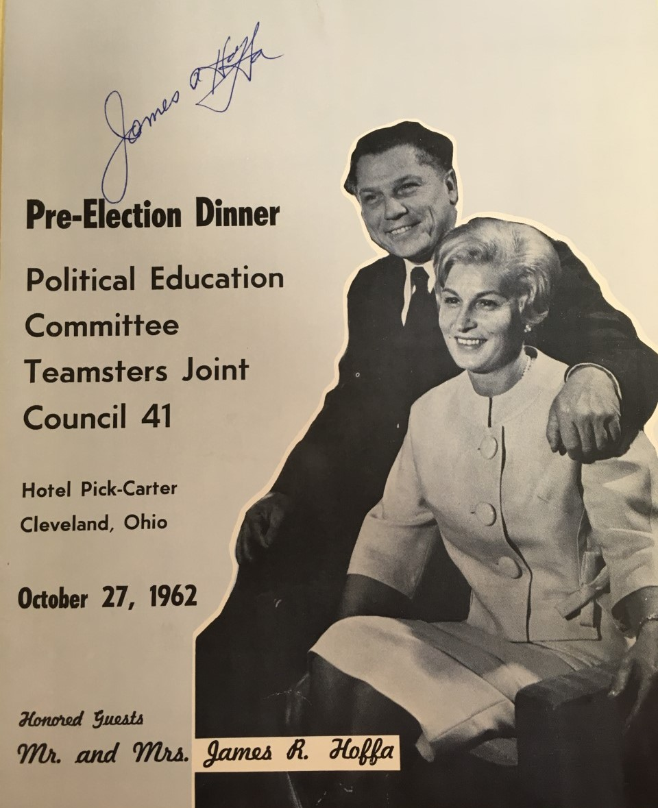 Long before he disappeared, Jimmy Hoffa was an honored guest and signed this program for a dinner given by the Teamsters Joint Council 41 in Cleveland, Ohio.  #JimmyHoffa #Autographed #TheIrishman #Oscars2020pic.twitter.com/k6W9uk5KvA