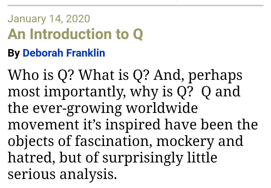 Mainstream conservative blog American Thinker posted a long, pseudonymous piece explaining the basics of QAnon. It presents the more vanilla, military intelligence puzzle version and leaves out the baby eating and mass executions. And it's all accepted with no skepticism. https://t.co/h7N7Yo1Oqa