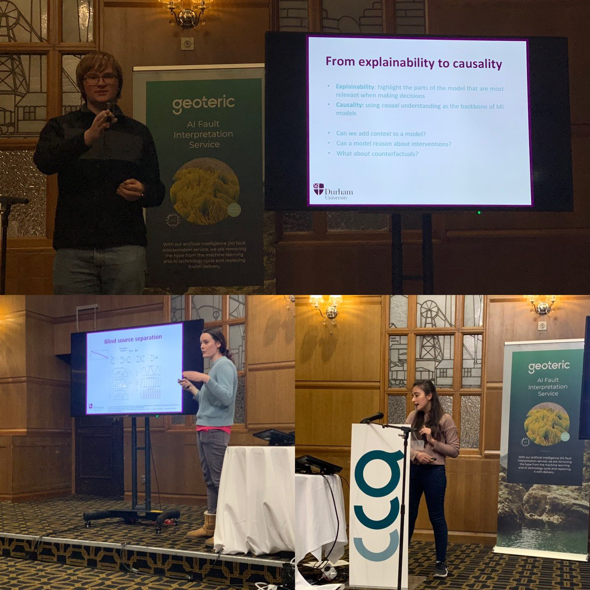 It was a pleasure to be invited by @Geoteric to be part of their annual conference where my group from @comp_sci_durham had the opportunity to present their research.