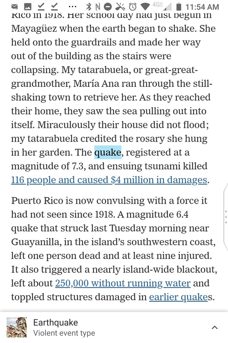 "@nytimes The comma in ""The quake, registered at a magnitude of 7.3"" is ungrammatical, and ""and ensuing tsunami killed 116 people"" is ungrammatical for lack of a ""the"" before ""ensuing tsunami.""  @syraob https://t.co/xAQuMHtMMG"
