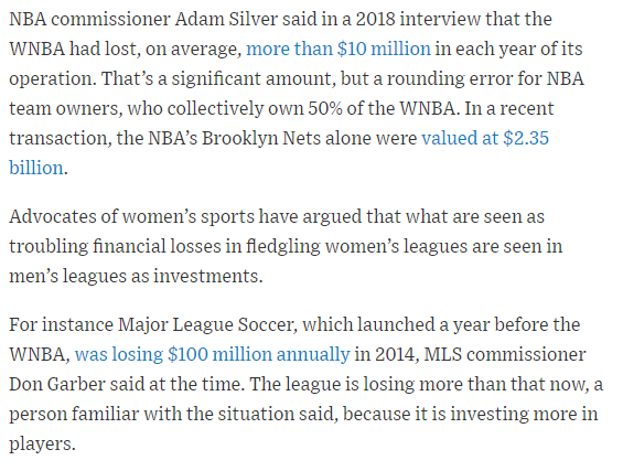 How can the WNBA raise salaries when it's said to be losing money?  The same way men's leagues do it: by investing in the future.  Some context:  https://www. wsj.com/articles/new-w nba-deal-will-bring-big-salary-increases-11579023759?tesla=y  … <br>http://pic.twitter.com/vPT8J47Vy9