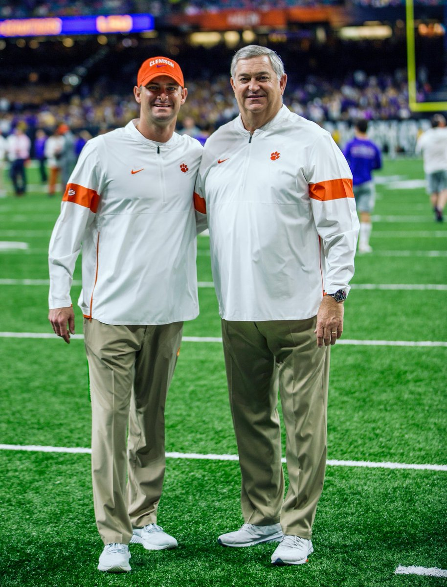 I want to take one last opportunity to thank all of the #ClemsonFamily for your support the last 12 years. I am so proud to have met so many of you. My family and I will forever be grateful for our time at Clemson #ALLIN<br>http://pic.twitter.com/sjmawqHrAu