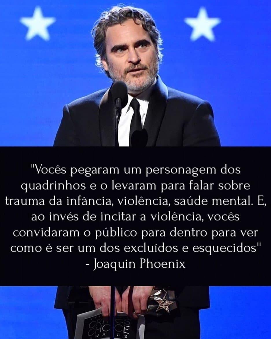 Trecho do discurso de Joaquin Phoenix no Critics' Choice Awards ao receber o prêmio de melhor ator por sua interpretação em Coringa.pic.twitter.com/vaI6G96f35