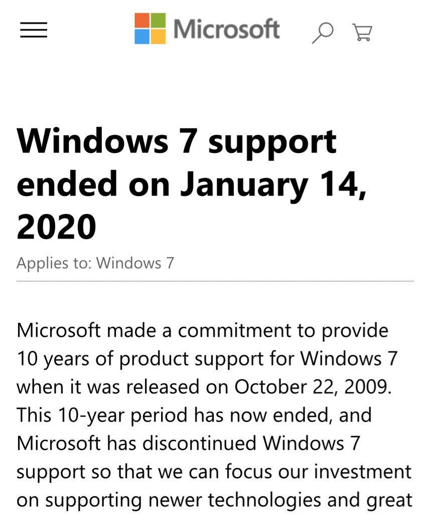 Good Night Sweet Prince October 22, 2009 – January 14, 2020 #Windows7 <br>http://pic.twitter.com/xiaz7gl7sz