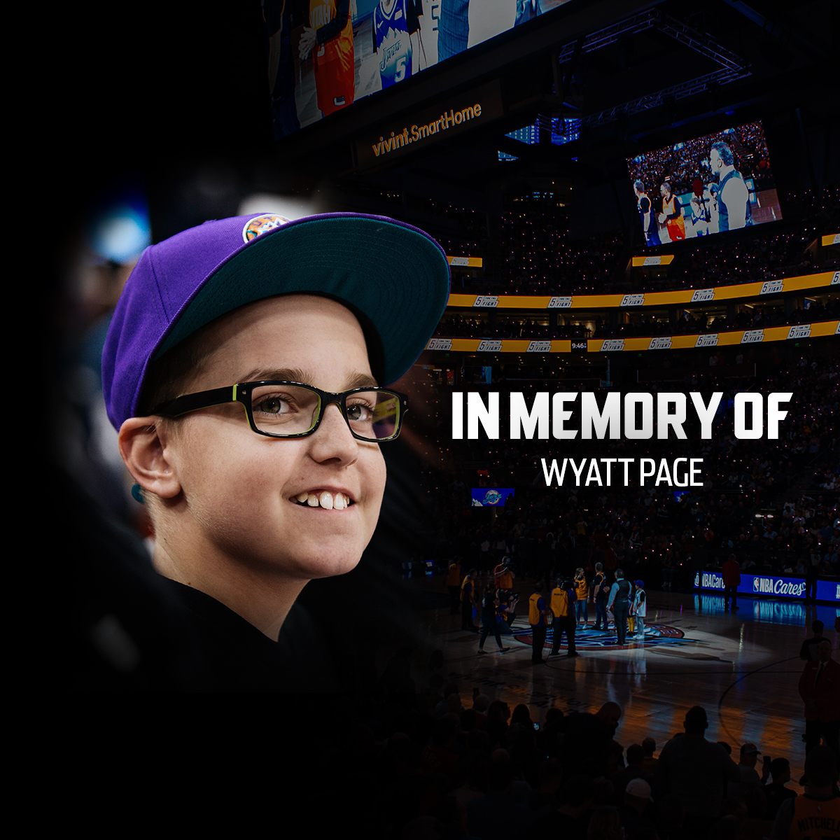 """We express our deepest condolences to the family of Wyatt Page, who passed away this morning after a 2-year battle with brain cancer. Earlier this season, he signed on with the team as one of our """"5 For The Fight"""" fighters. We're honored to have Wyatt as a Jazzman forever."""