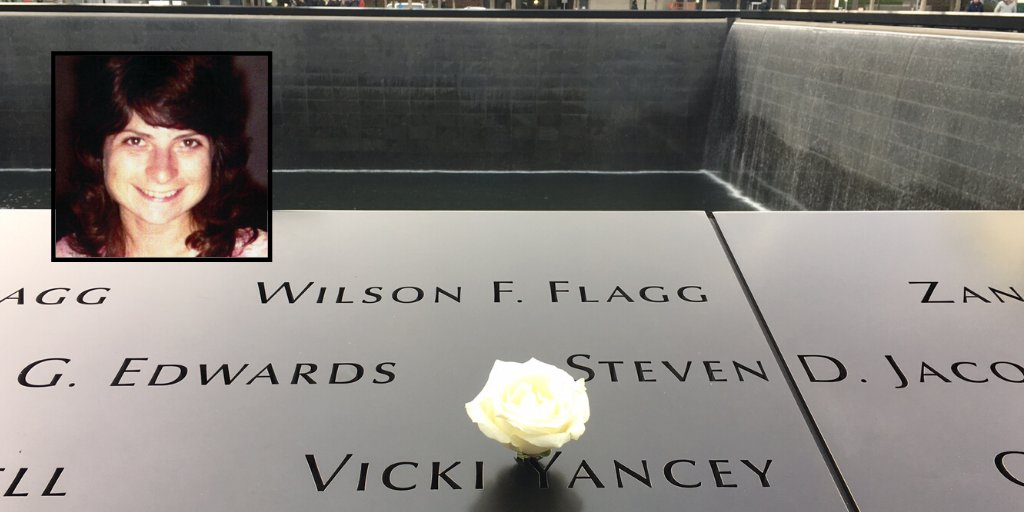 New Jersey native Vicki Yancey lived in Virginia with her husband and daughters. On 9/11, Vicki, a defense contractor at Vredenburg, was on Flight 77 heading to a conference in Nevada. Today in honor of her 63rd birthday a white rose was placed at her name on the #911Memorial.