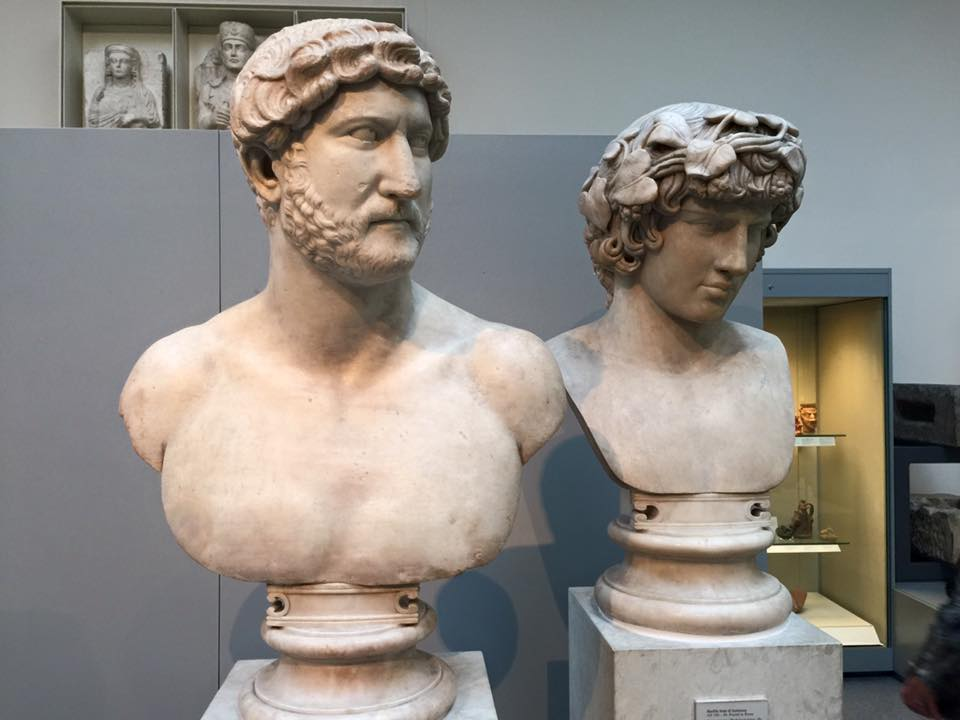 Head of a statue of antinous, lover of the roman emperor hadrian