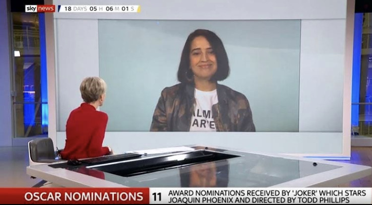 Excuse me is this @HannaFlint founder of @first_filmclub on @SkyNews with an Alma Har'el @girlsontopstees shirt telling the world women directors crushed it in 2019?   Thank you @Rendy_Jones  #OscarsSoMale<br>http://pic.twitter.com/H2oZZU7fVw