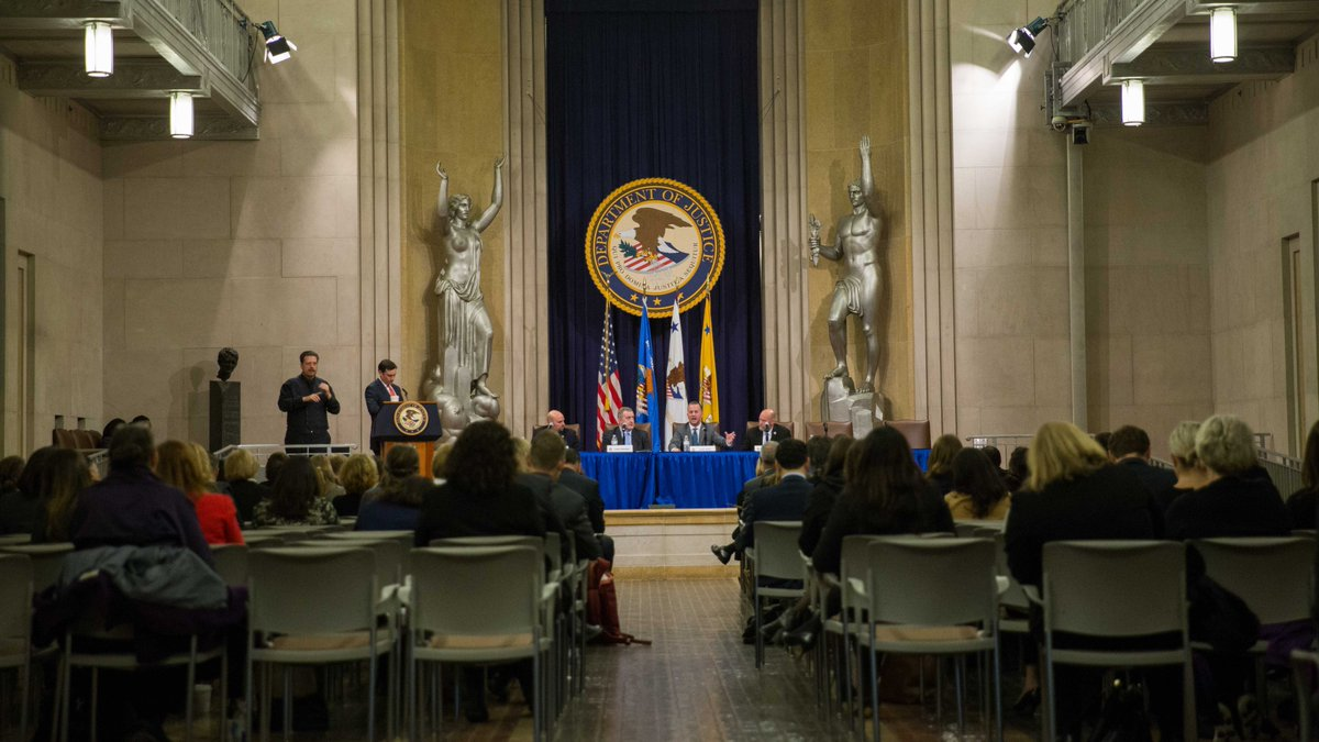 Speaking at the DOJ Great Hall in Washington, D.C.
