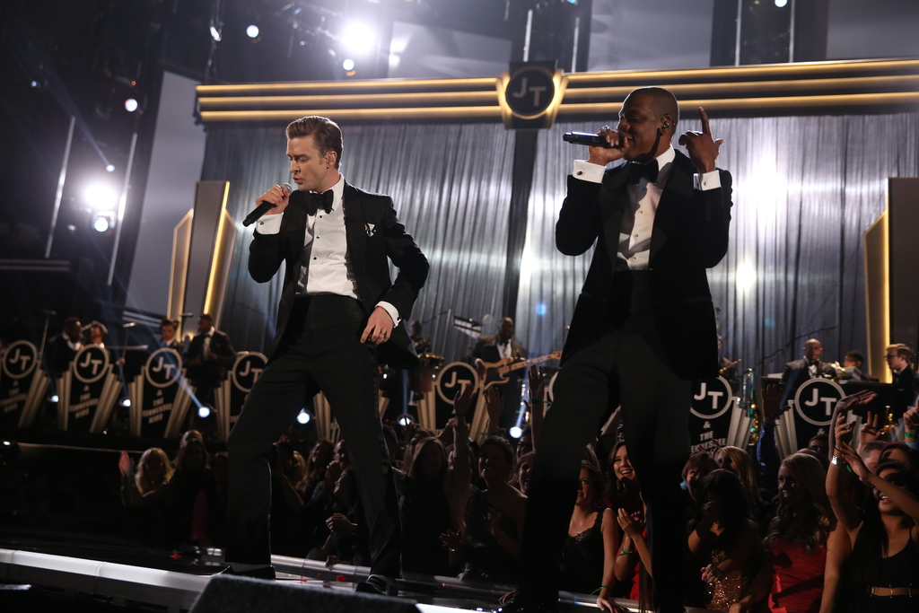 """2014 was 10-time GRAMMY winner @JTimberlake's first GRAMMY performance in six years, so of course he had a few surprises in mind - one being bringing out 22-time GRAMMY winner Jay Z (@S_C_) to perform his hit song, """"Suit and Tie."""" #GRAMMYVault"""