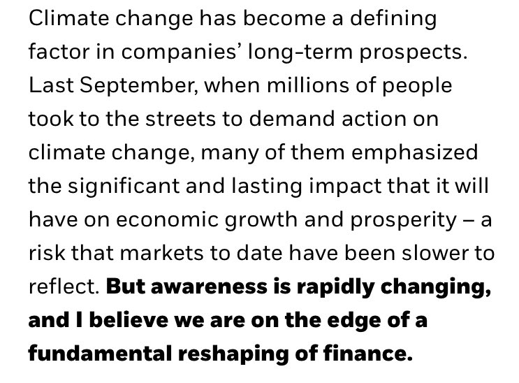 Check out the first paragraph of Larry Fink's letter announcing Blackrock's new climate-aware investment strategies.👇  Fink cites last September's climate strikes as signaling the rising awareness that requires his institution to change.  ✨🌟ACTIVISM WORKS🌟✨  #ActOnClimate