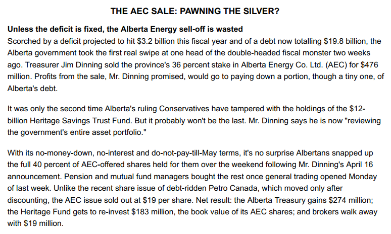 In 1993, Ralph Klein fully privatized the Alberta Energy Company, selling off the 36% partial ownership for $476M (752M in $2019) AEC would later become Encana, which now has a market capitalization of $10.8B. Lougheed had established AEC in 1973, the province owning 49% #ableg