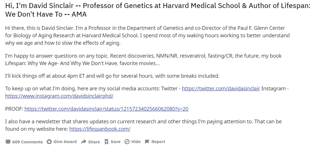 David Sinclair Phd On Twitter Join Me On Reddit Happening Now Link Here Https T Co Aasyleczb7