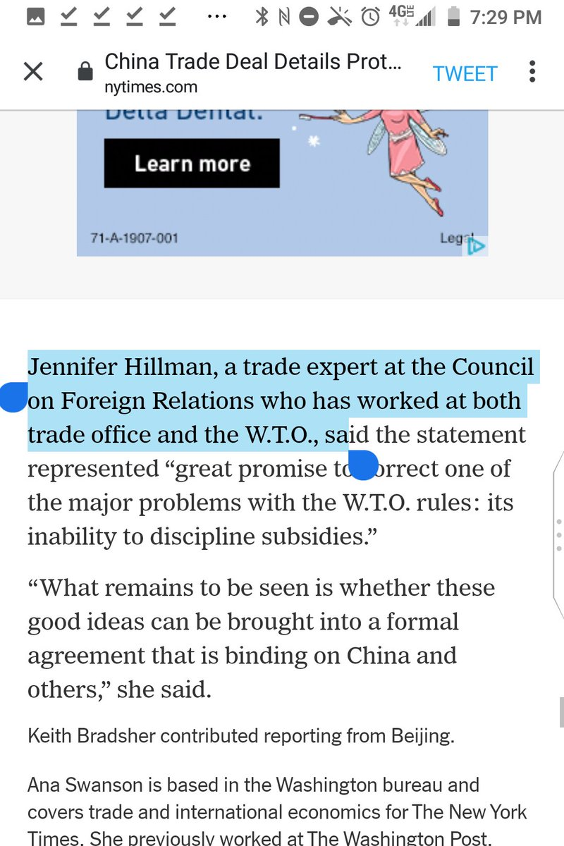 """You're missing a """"the"""" before """"trade office"""" in """"Jennifer Hillman, a trade expert at the Council on Foreign Relations who has worked at both trade office and the W.T.O.""""  @AnaSwanson"""