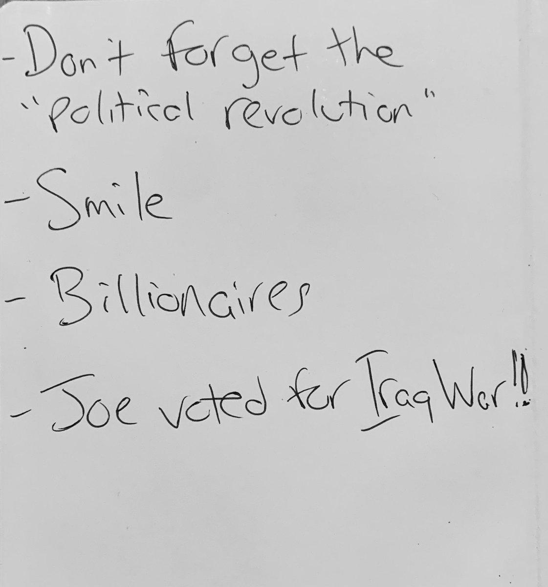 just got a copy of Bernie's pre-debate notes tonight