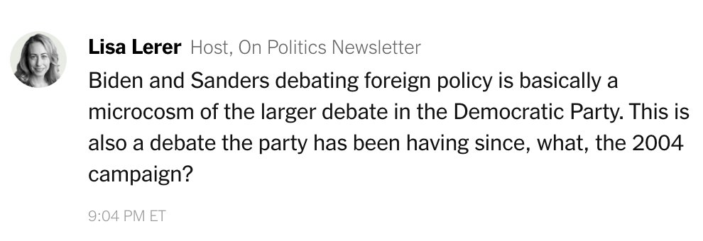 The first question of the #DemDebate was on Iran. In our live-chat, @llerer says the differences among the candidates on stage reflect a familiar divide in the Democratic Party. https://nyti.ms/2RhdwQn