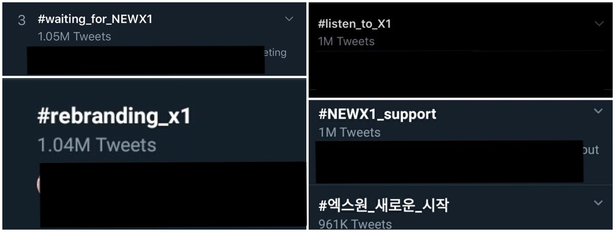#WeTrustX1 #rebranding_x1  #listen_to_X1  #NEWX1_support  #X1_new_beginning  #waiting_for_NEWX1  #cheer_for_NEWX1  jan 6 is the news about d word, we started the hashtag trending in 7th.  since D-1 we never stopped. every hashtags entered the top 1-5 ww trends with over 1M tweets<br>http://pic.twitter.com/T1yA7tmoSs