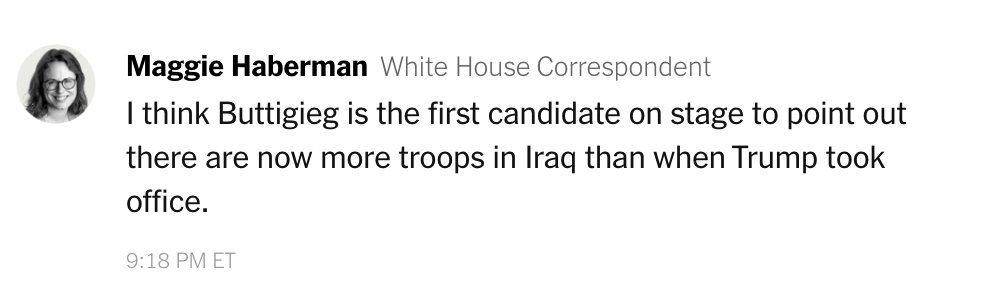 On the subject of keeping troops in the Middle East, the candidates in tonight's #DemDebate have largely focused on President Trump, @maggieNYT says in our live-chat https://t.co/9Wcn8T41wL https://t.co/XZiznMCM9D