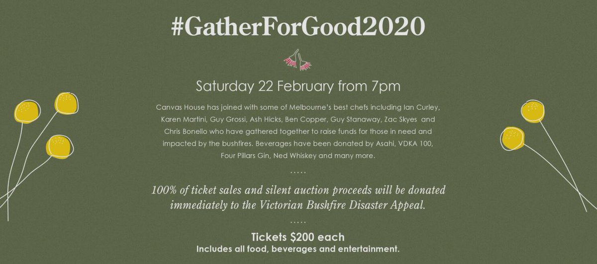 @Marketplacer_ is getting behind the bushfire fundraising event, Gather for Good on 22 Feb. Event features fantastic chefs including Ian Curley, Guy Grossi, Karen Martini plus auctions and entertainment. Proceeds to Vic Bushfire Disaster Appeal. Book: https://t.co/77tveTJFV6 https://t.co/kJ7GKVvM5c
