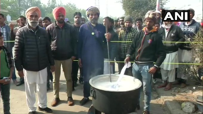 'Langar' being prepared at Delhi's #ShaheenBagh where people have been protesting for last one month against #CitizenshipAmendmentAct and #NRC: news agency ANI #CAA2019 #CAAProtests