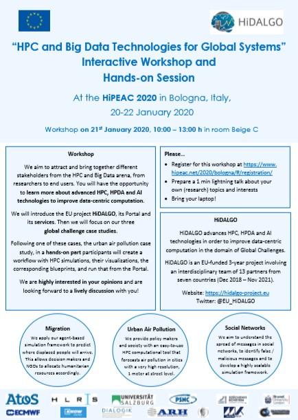 El #workshop organizado por @EU_HiDALGO en #HiPEAC2020 se centrará en el uso de #HPC...