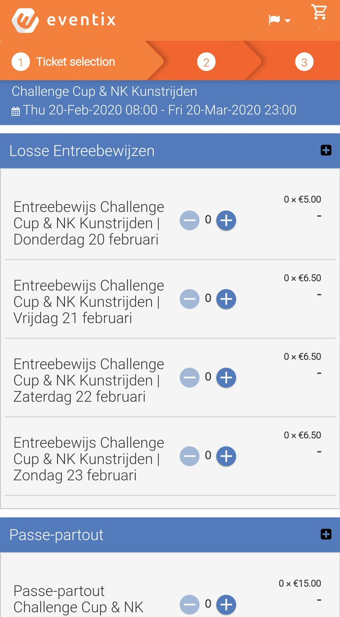 チャレンジカップのチケット販売開始になりました🇳🇱オールイベントチケットは15ユーロ、単日券は5~6.5ユーロです。支払い方法はiDeal、クレジットカード、PayPaliDeal以外は3.5%の手数料が別途かかります。画像はFBに接続しないで進めています。#チャレンジカップ2020