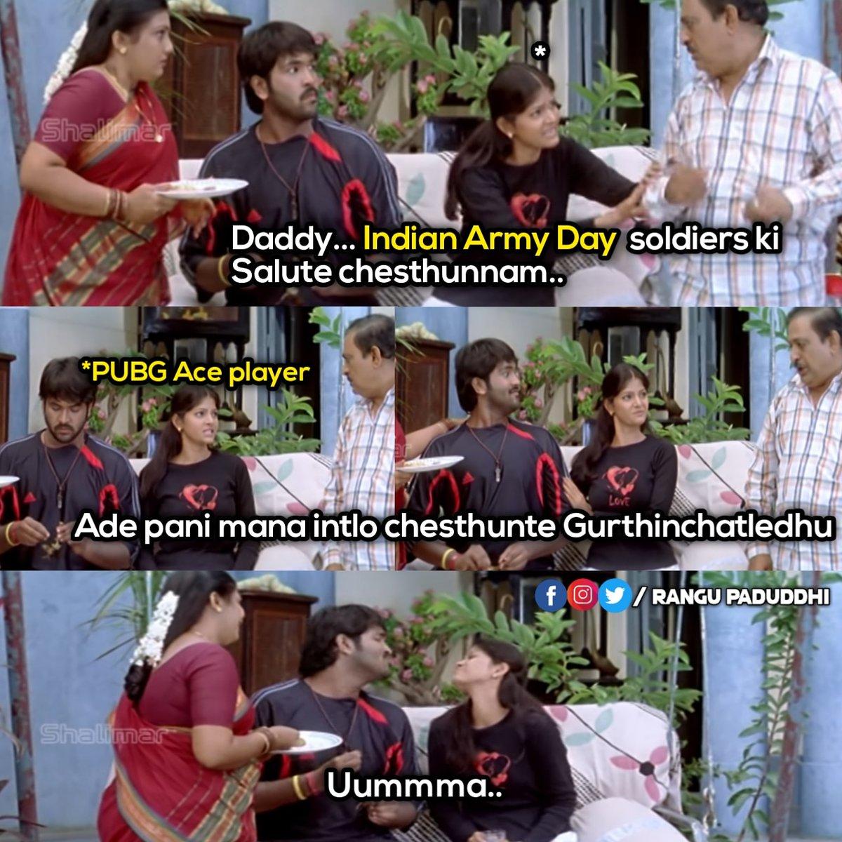 Show some bloody respect to the PUBG soldiers  For more fun Do follow - @rangu_paduddhi #rangupaduddhi #comedy #fun #memes #memesdaily #telugumemes #trolls #telugumeme #telugucomedy #btech #babunuvvubtechah #btechlife #btechjokes  #backbenchers  #PUBG #pubglovers #pubgmobilepic.twitter.com/GmPKO2Pd80