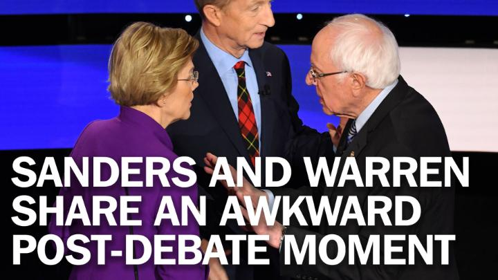 Bernie Sanders and Elizabeth Warren share an awkward post-debate moment at the #DemDebate https://ti.me/2sqrTtr