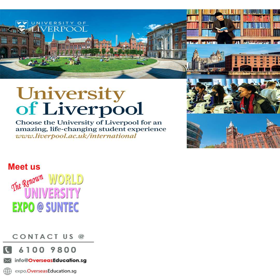 Meet Uni of Liverpool at WorldUniExpo on Fri 17 Jan 3-9pm at Suntec Level 3 Concourse. Degree in Criminology, Architecture, HealthScience, Aviation, Occ Therapy, etc. Visit http://Liverpool.OverseasEducation.sg or Call 61009800 for more info. Rmb to bring your results for free applications!!pic.twitter.com/FRv0paRkyK