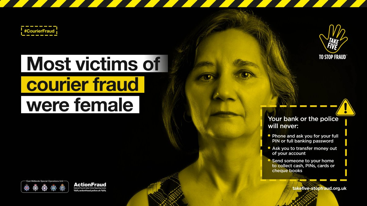 Last year nearly two thirds of #CourierFraud victims were women over 75. #ICYMI, heres how you can beat the fraudsters… actionfraud.police.uk/beatthecourier…