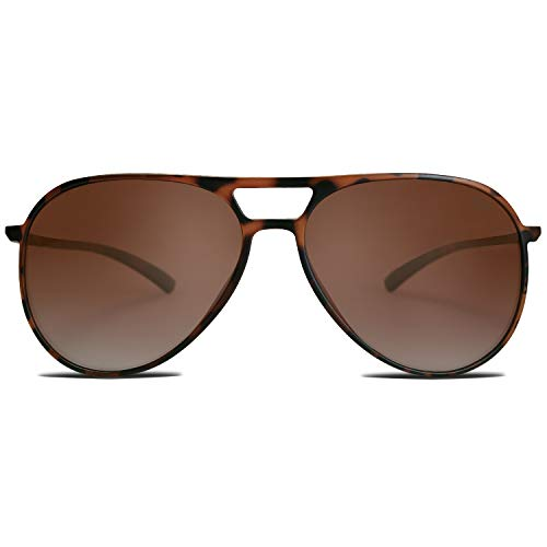 SOJOS Classic Polarized Ultra Lightweight Flexible Aviator Unisex Sunglasses JOURNEY SJ2065 with Matt Brown Demi Frame/Gradient Brown Lens -