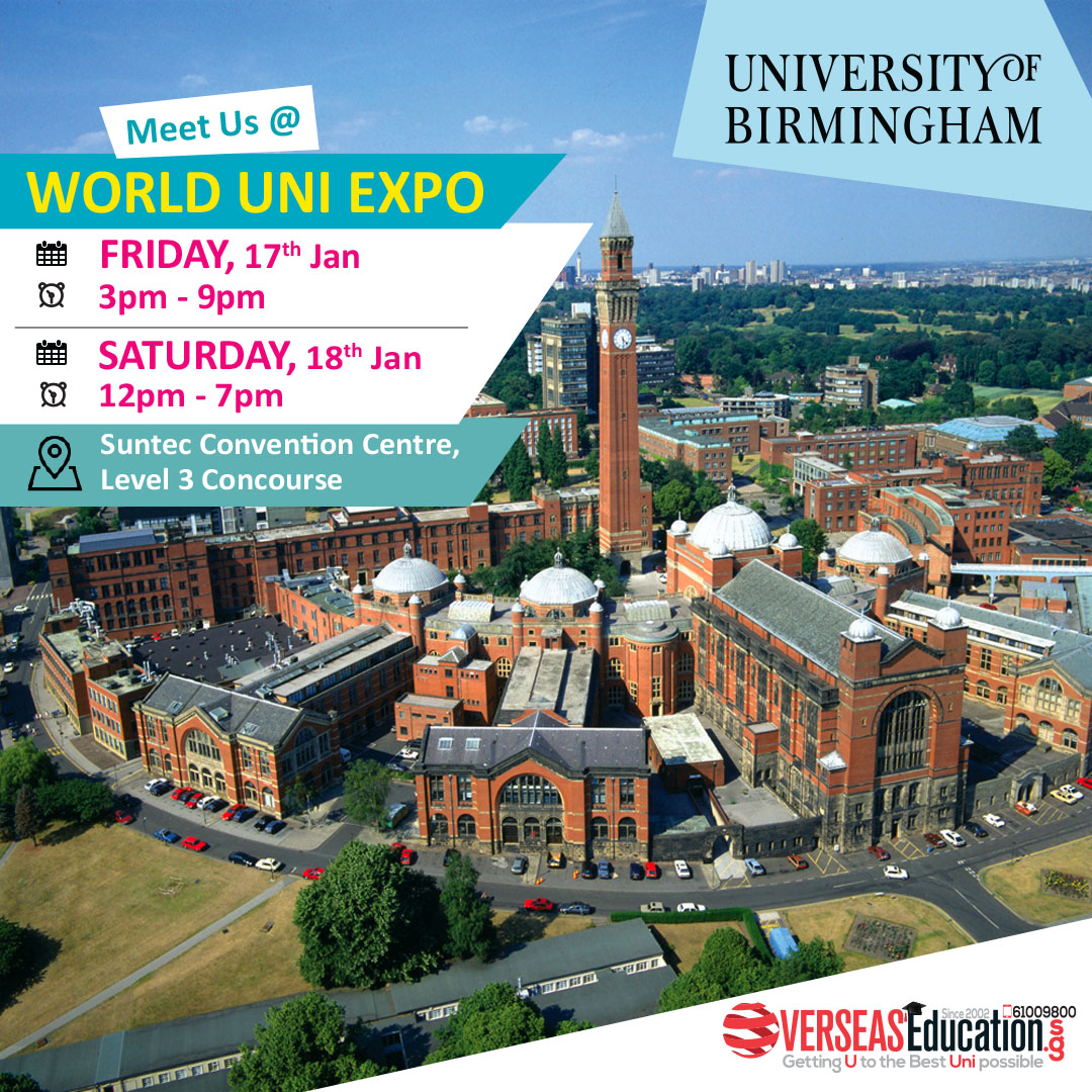 Come & Meet Uni of Birmingham for Degree in Law, Engineering, Business, Humanities & more WorldUniExpo on Fri 17 Jan 3-9pm & Sat 18 Jan 12-7pm at Suntec L3 Concourse. Bring your result, foundation program available. Call 61009800 or visit http://birmingham.OverseasEducation.sg for more info!pic.twitter.com/Wckupg5H2x