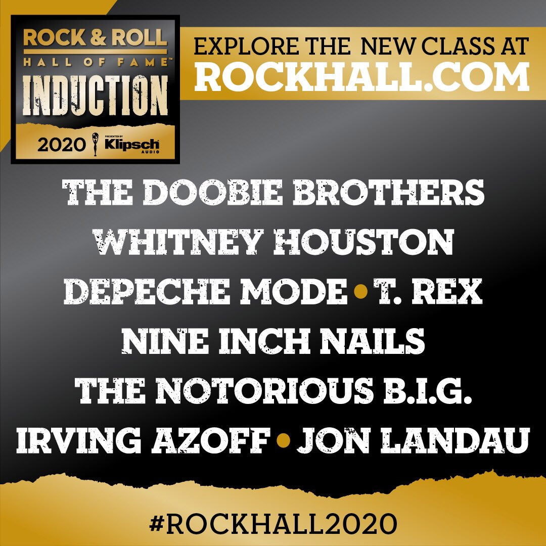 We're honoured to be included as one of this year's Rock and Roll Hall of Fame inductees, and to stand alongside the other incredible acts in the Rock Hall and those joining this year. A huge thank you to everyone who has supported us and our music over the years. #RockHall2020