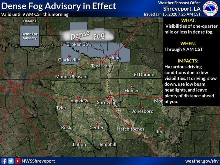 @NWSShreveport's photo on Dense Fog Advisory