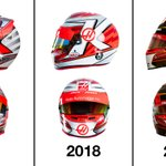 Crash Helmet Evolution ➡️  Which has been your favorite color scheme of @KevinMagnussen's Haas era?