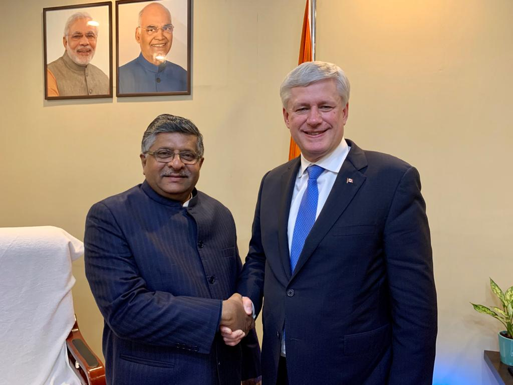 Had a good discussion with the former Prime Minister of Canada Stephen Harper on wide range of issues pertaining to the digital and legal policy matters.