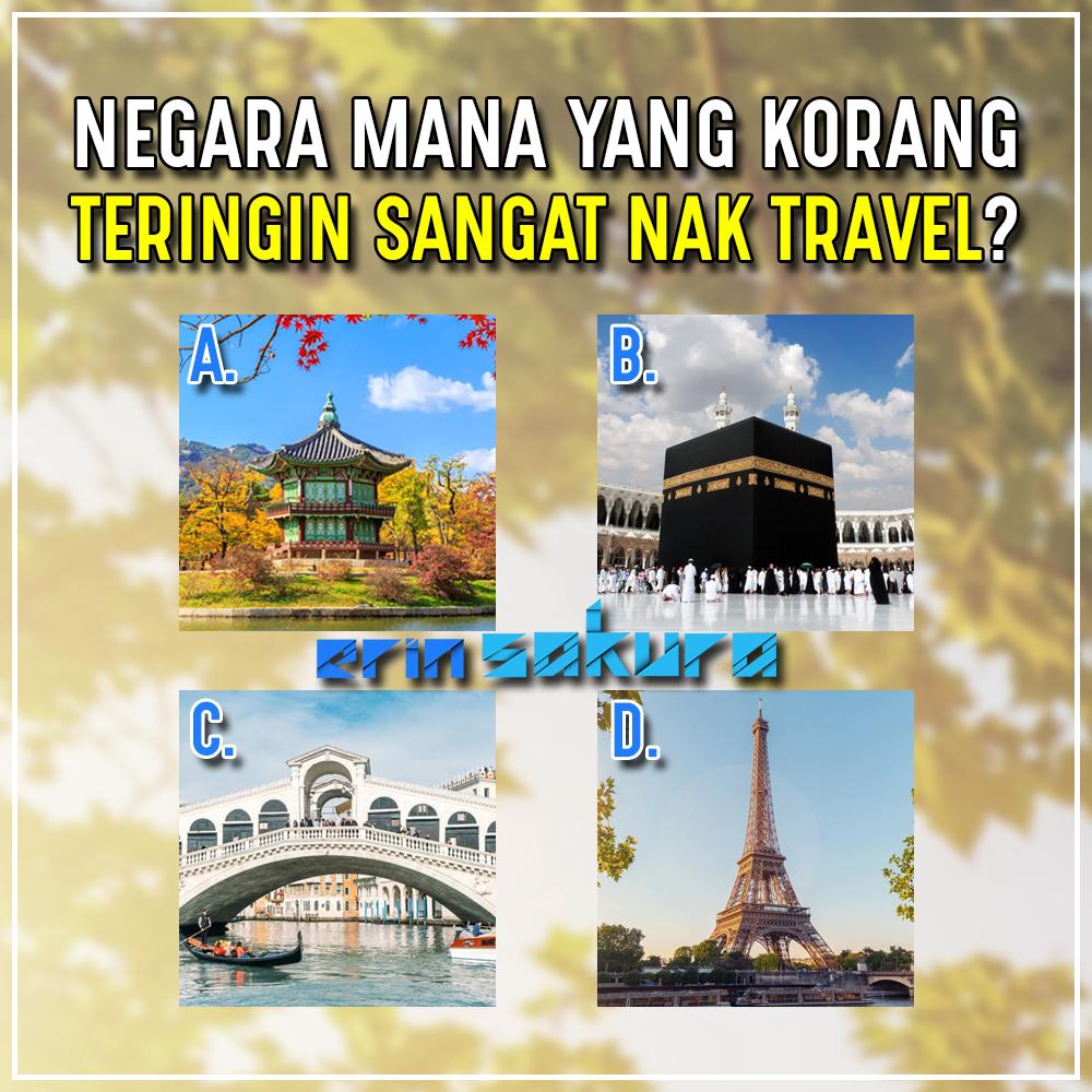 Ke korang ada negara lain yang korang nak melawat? Negara apa tu ? #negara #cuti #travel #korea #mekah #mecca #venice #italy #paris #france #erinsakura #milpanjangpic.twitter.com/f4nZPEGExy
