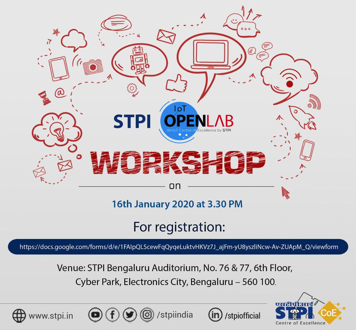 #STPIIoTOpenLab is conducting a workshop on 16th January 2020 at @STPIBengaluru. Hurry up and register your candidature to access the workshop conducted by industry experts in #IoT domain and gain hands-on experience. #STPICoEs  https:// docs.google.com/forms/d/e/1FAI pQLScewFqQyqeLuktvHKVz7J_ajFm-yU8yszliNcw-Av-ZUApM_Q/viewform  … <br>http://pic.twitter.com/o3dWkoi1h3