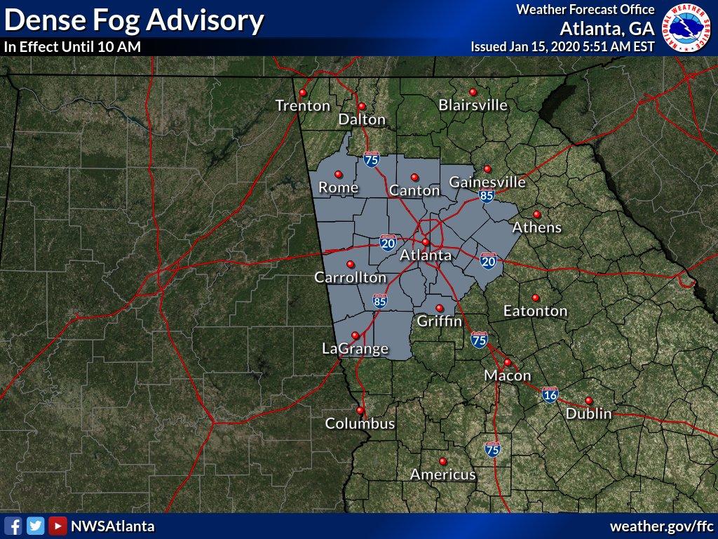 @NWSAtlanta's photo on Dense Fog Advisory