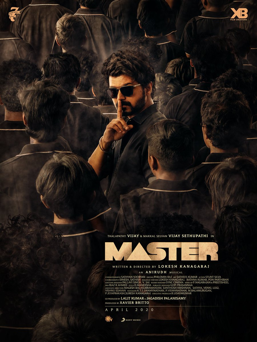 Second Look poster of Master!Time to cheer!The Master is here! 😎Happy pongal Nanbaa!#MasterPongal #MasterSecondLook #Master @actorvijay @VijaySethuOffl @Dir_Lokesh @anirudhofficial @jagadishbliss @Lalit_sevenscr @imKBRshanthnu @MalavikaM_