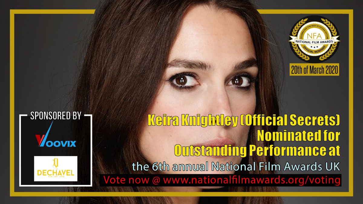 Congratulations to #KeiraKnightley nominated for #OutstandingPerformance at the 6th annual #NationalFilmAwardsUK. Vote now @ http://www.nationalfilmawards.org/voting Follow @NATFilmAwards #NFA #NFA2020 #NFTApic.twitter.com/0A81JdI0V3