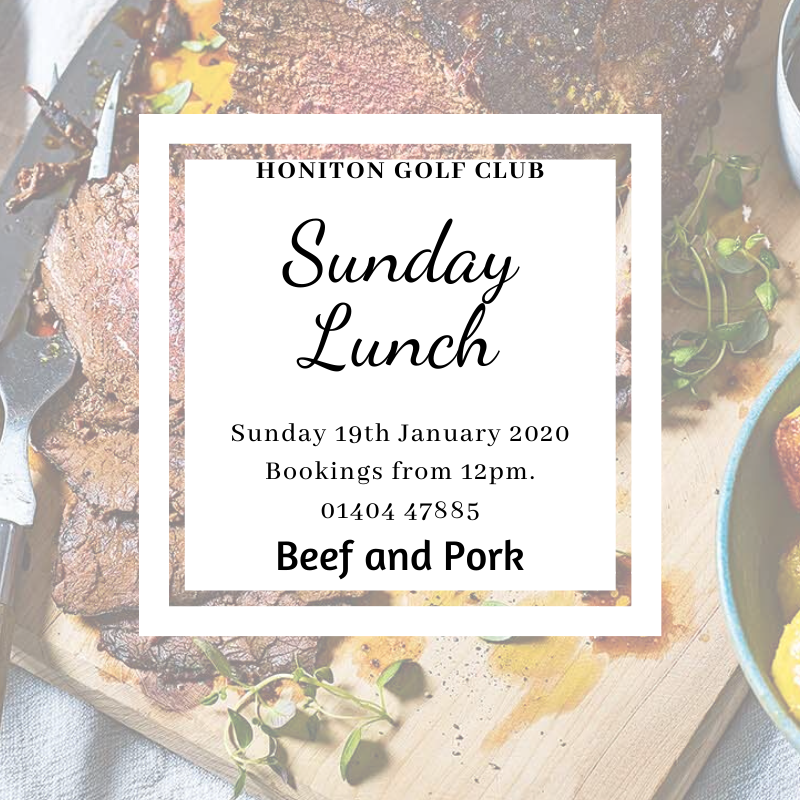 Roasted Beef and Pork will be on offer this Sunday, 19th January, from 12noon.  Bookings preferred please, phone Emma 01404 47885#ClubSocial #SocialClub #HonitonGolf #TeamLife #lazysunday