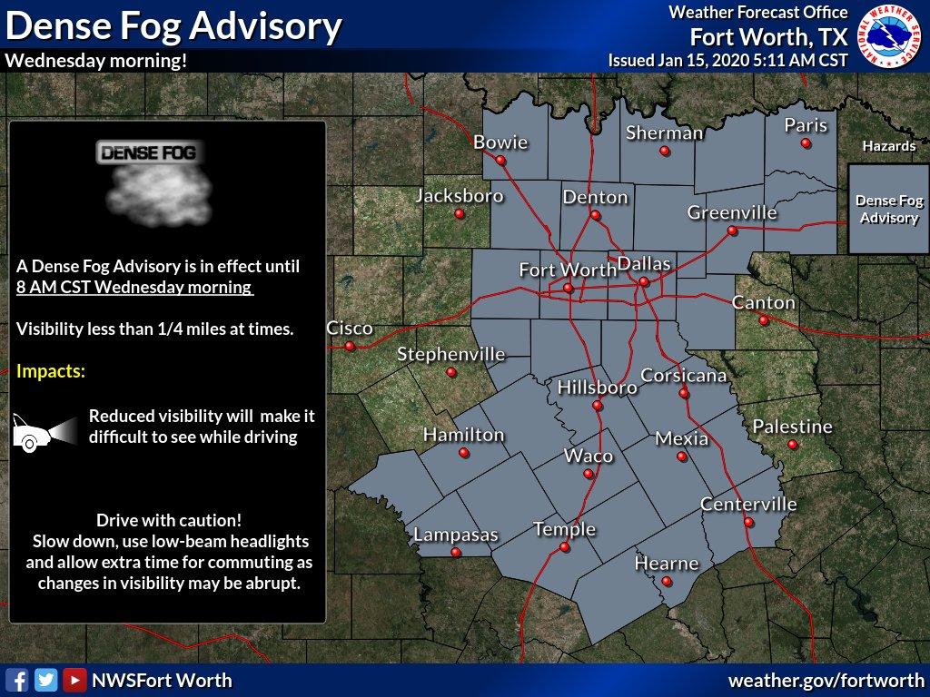 @NWSFortWorth's photo on Dense Fog Advisory
