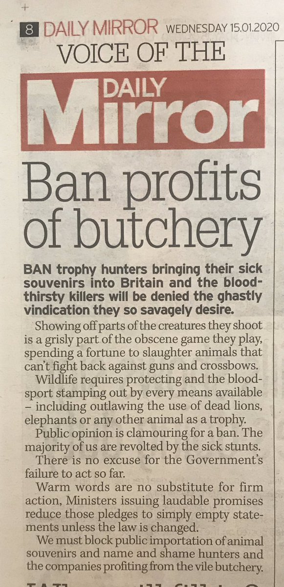 Excellent editorial in today's @DailyMirror Please sign/share @CBTHunting petition to ban all hunting trophies change.org/p/boris-johnso… Thank you. #BanTrophyHunting