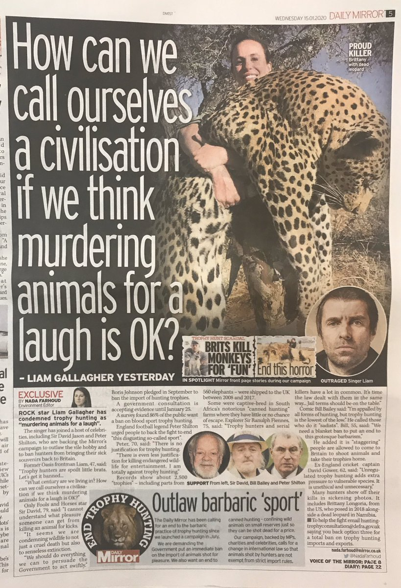 Thank you to @CBTHunting supporters @liamgallagher @Peter_Shilton @davidgower616 @RealDavidJason @SirRanulphAus @BillBailey for speaking out in today's @DailyMirror . Pls sign/share petition to ban all hunting trophies here: change.org/p/boris-johnso… #BanTrophyHunting