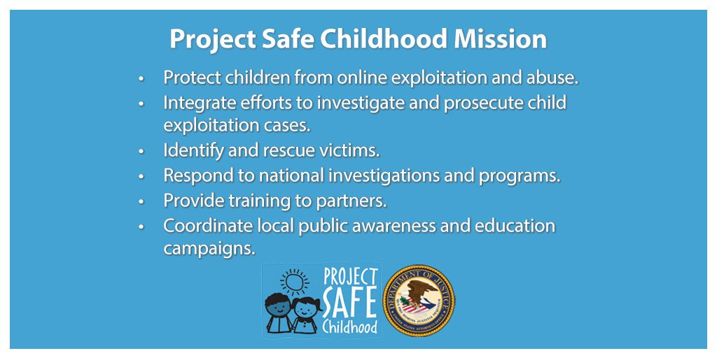 Project Safe Childhood Mission. Protect children from online exploitation and abuse. Integrate efforts to investigate and prosecute child exploitation cases. Identify and rescue victims. Respond to national investigations and programs. Provide training to partners. Coordinate local public awareness and education campaigns.